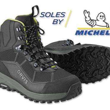 """In an industry-first collaborative effort with Michelin®, Orvis introduces the PRO Wading Boot. Built on an outsole compound specifically designed for fly fishing, this revolutionary new sole design is an industry-disrupting advance in wet rubber traction. The Michelin Outdoor Extreme outsole offers 25% better abrasion resistance and a resounding 43% improvement in wet rubber traction. Using Michelin tire geometry, it offers a wider footprint for stability, a higher ratio of surface contact, and a lug pattern that reduces shock and improves pressure distribution. The two-layer midsole has a co-molded ESS plate that provides improved stud retention and torsional stability. The shock-absorbing Phylon midsole improves """"river feel"""" and compresses less than standard EVA midsoles. Orvis partnered with OrthoLite® to create a 3D molded X25 insole designed for high-impact sports, delivering maximum comfort and arch support. An industry-first cast PU upper eliminates seams while providing a zoned cage for added stability, grip, and extreme abrasion resistance without the added bulk. The boot is higher cut for ankle support and lined with closed-cell foam. Scratch rubber at the toe cap and heel for abrasion resistance, an oversized heel pull for easier on-and-off, and tightly woven laces reduce broken laces. Imported. Weighs 50 oz. in size 10. Men's whole sizes 7-14 (Women's equivalent sizes 8-15)."""